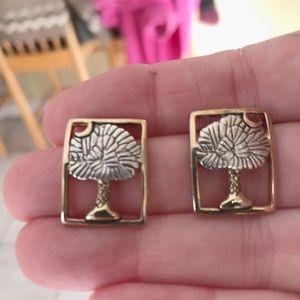 Jewelry - Palm tree Moon Earrings Open Cut Design Retro